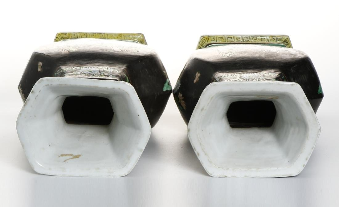 Pair of Chinese Famille Noir Vases - 6