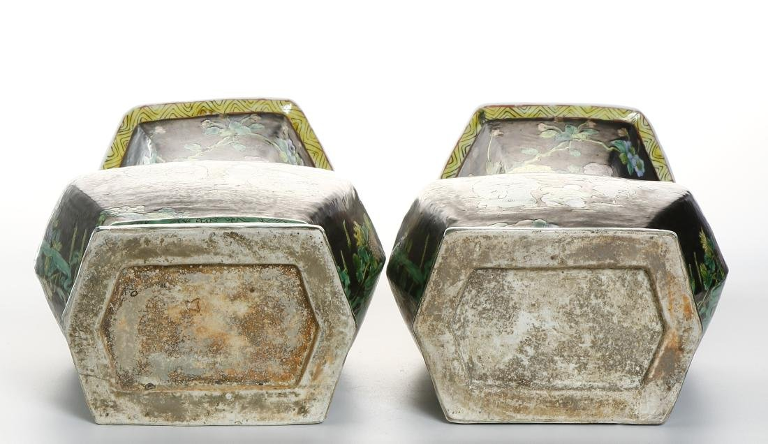 Pair of Chinese Famille Noir Vases - 7