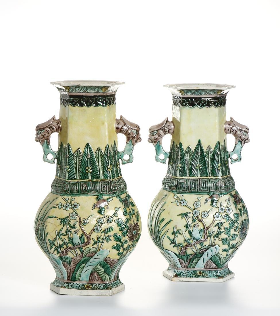 Pair of Chinese Yellow-Ground Hexagonal Vases