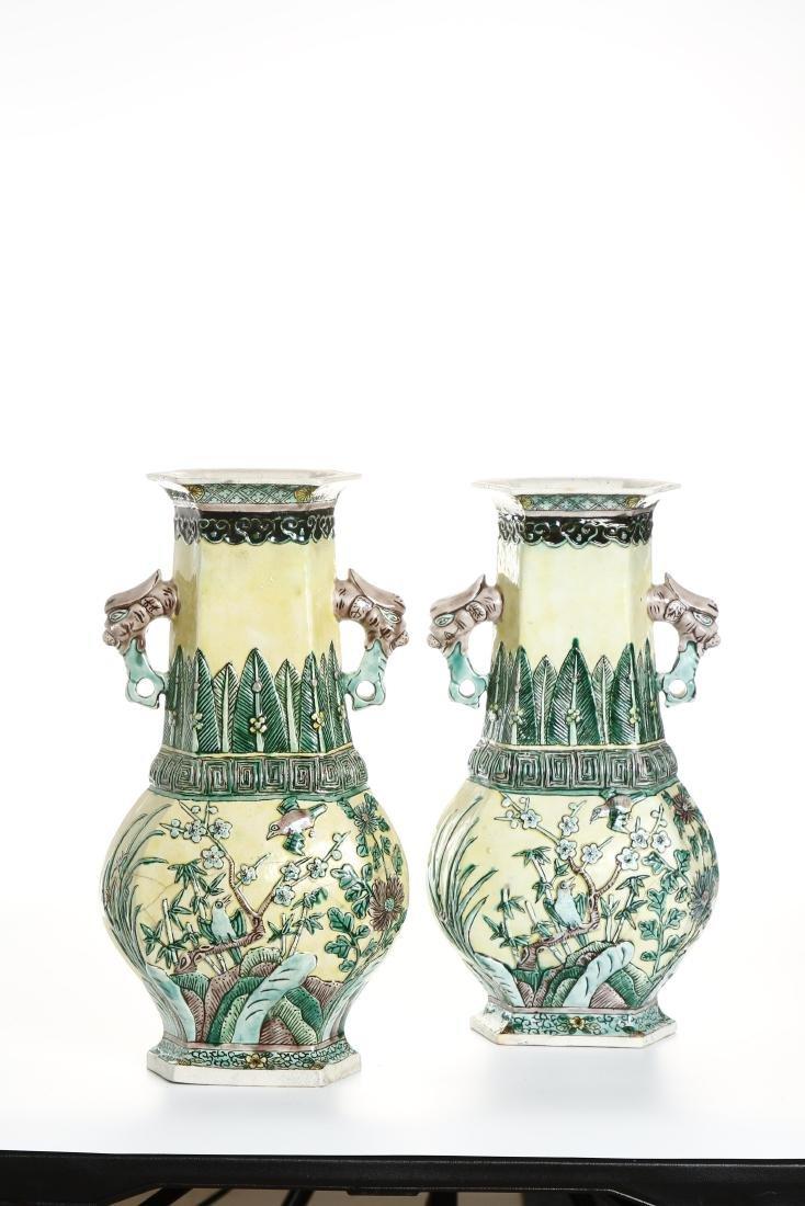 Pair of Chinese Yellow-Ground Hexagonal Vases - 2