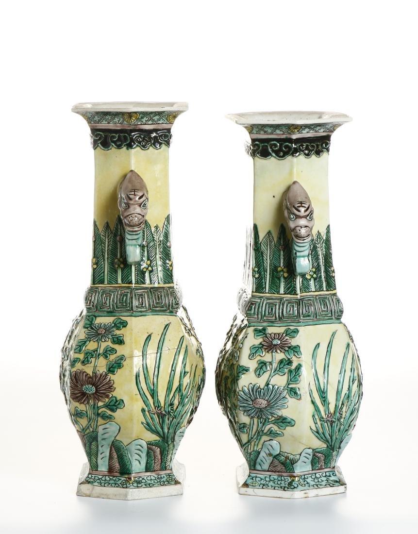 Pair of Chinese Yellow-Ground Hexagonal Vases - 3
