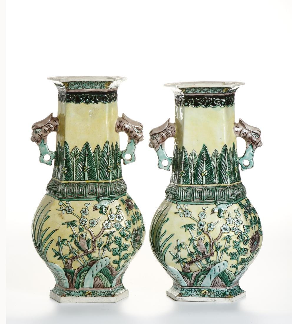 Pair of Chinese Yellow-Ground Hexagonal Vases - 4