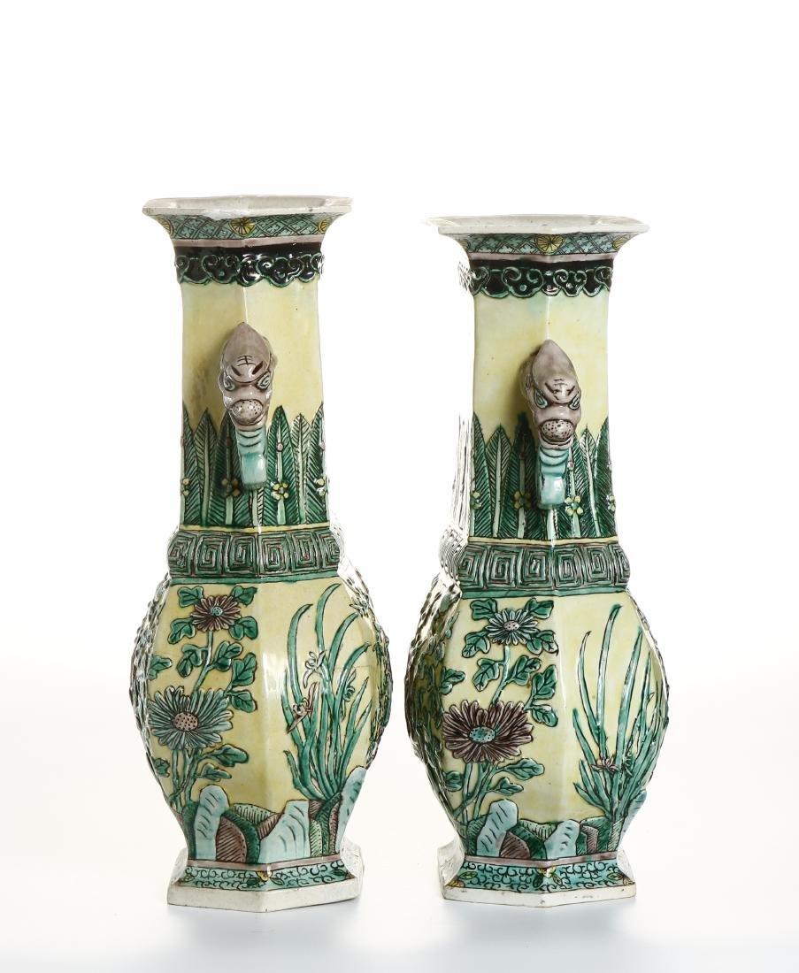 Pair of Chinese Yellow-Ground Hexagonal Vases - 5