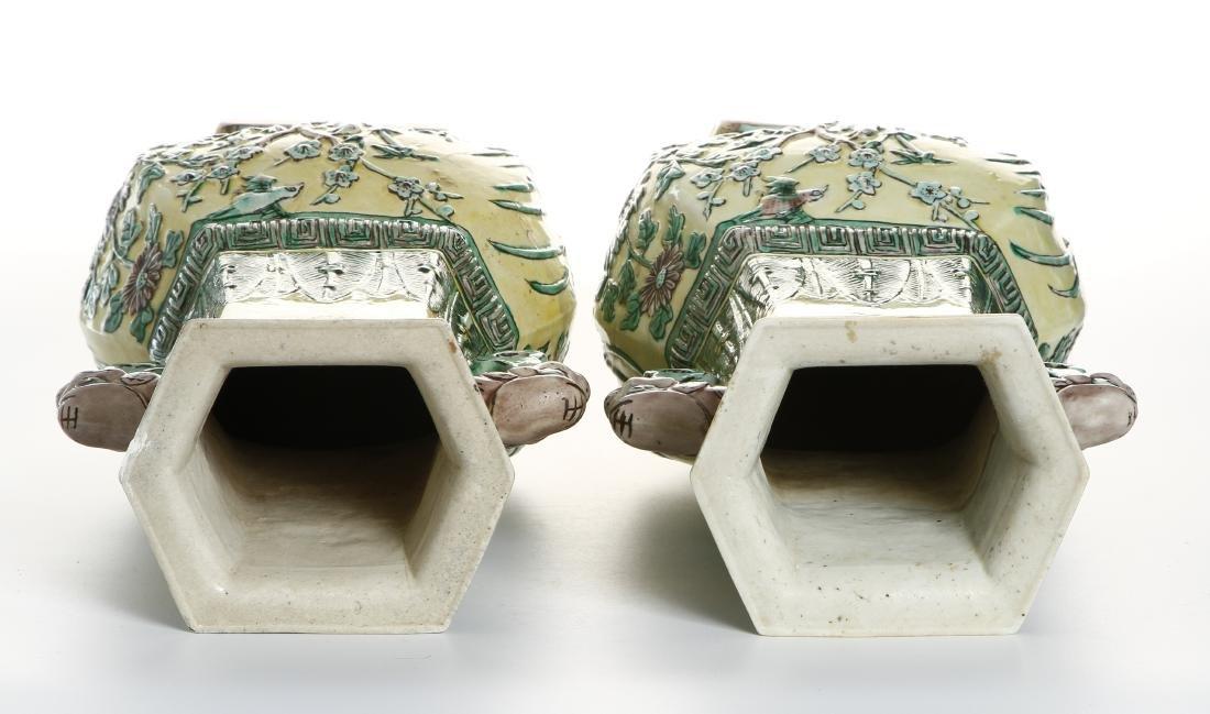 Pair of Chinese Yellow-Ground Hexagonal Vases - 6