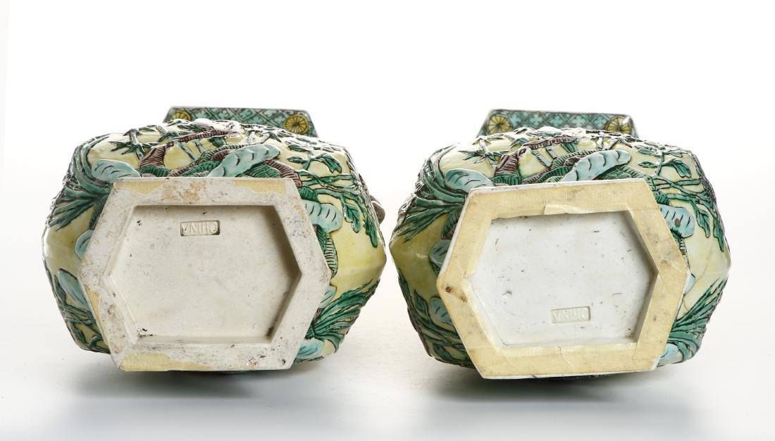 Pair of Chinese Yellow-Ground Hexagonal Vases - 7