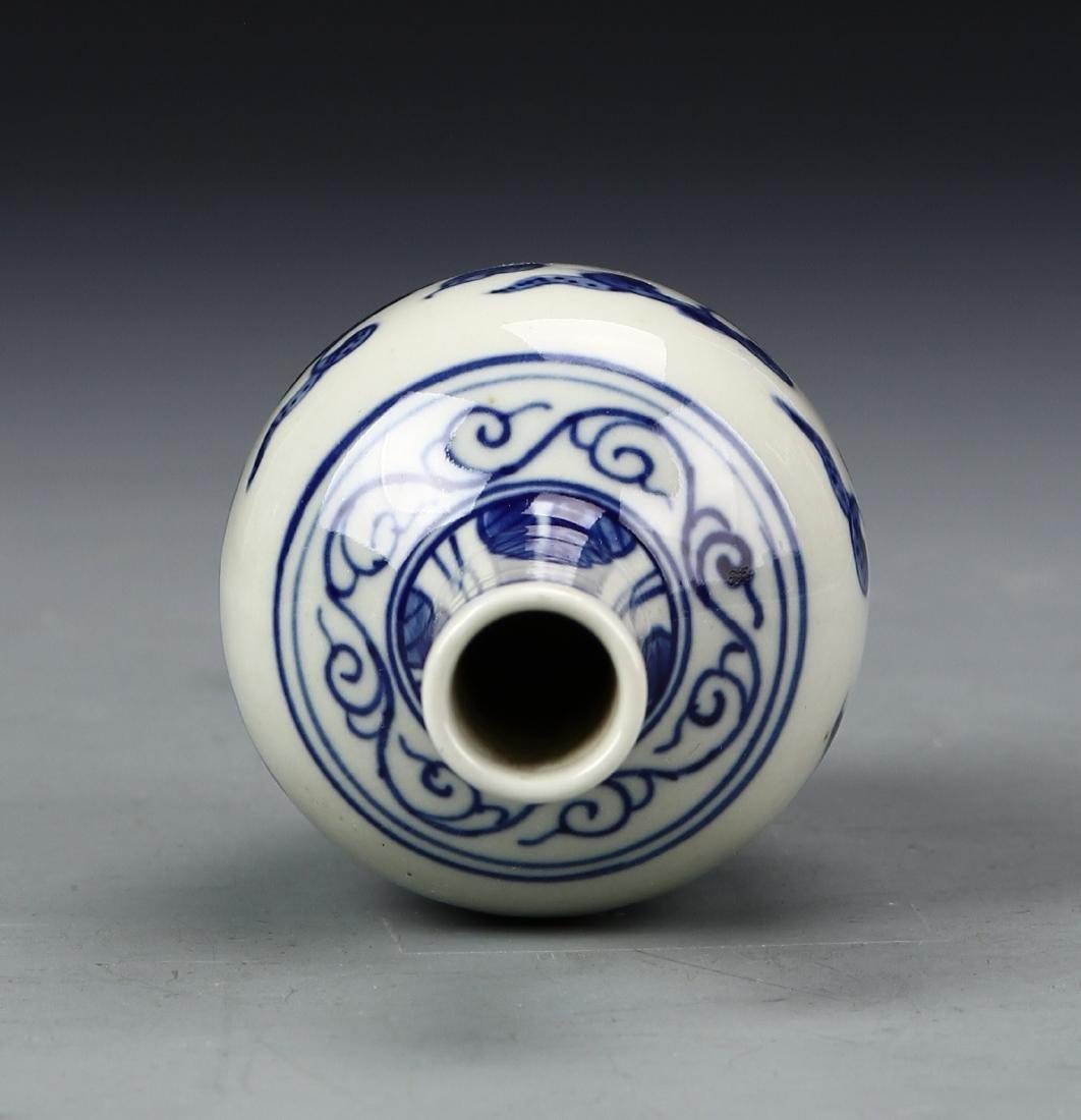 Chinese Blue and White Bottle Vase - 3