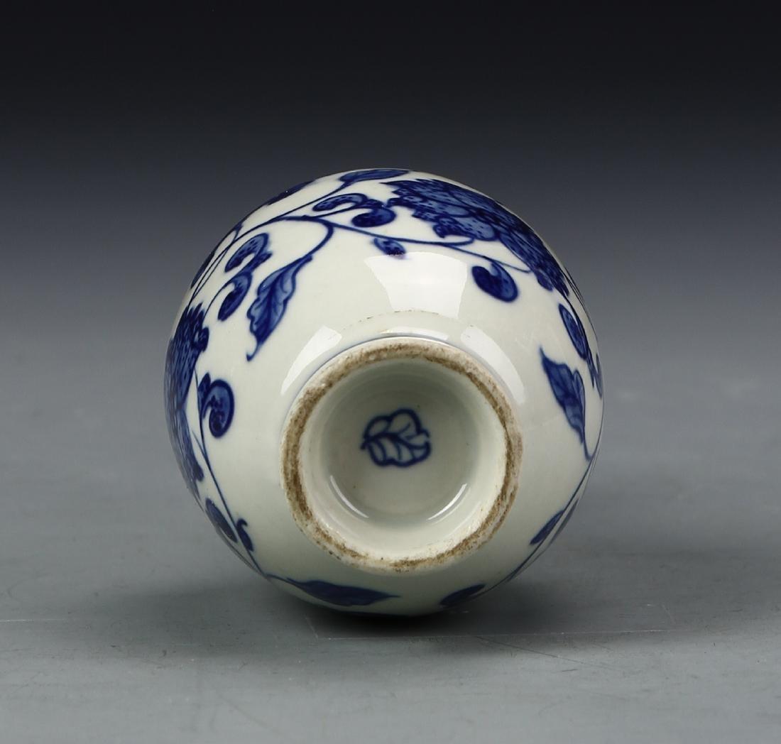 Chinese Blue and White Bottle Vase - 4