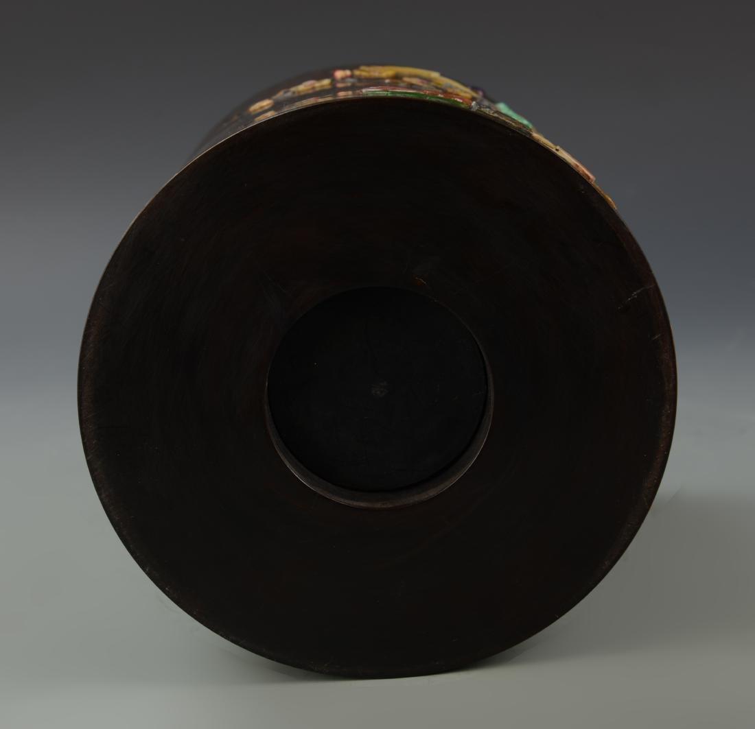 Hardwood Inlaid Brush Pot - 2