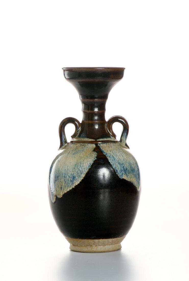 Chinese Flambe Glazed Bottle Vase