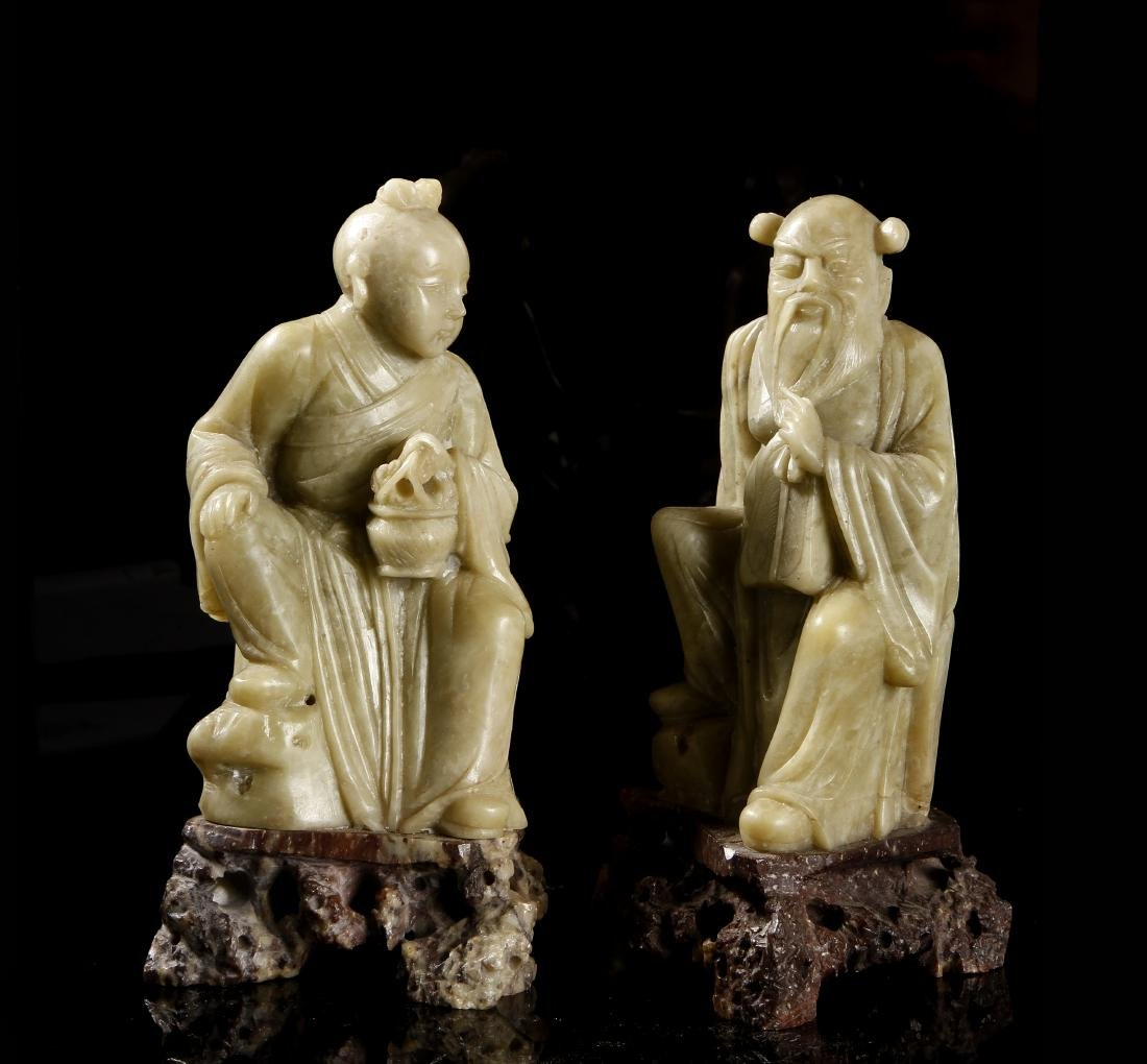Two Chinese Soapstone Figures