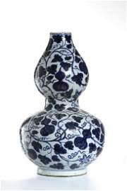 Chinese Large Blue/White Double-Gourd Vase