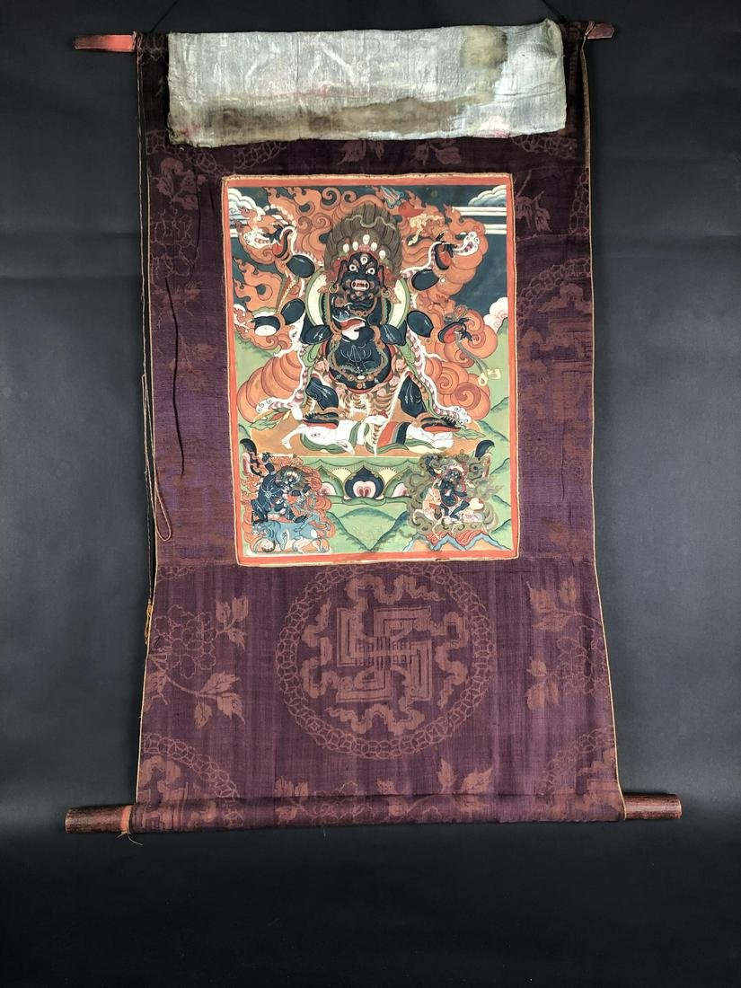 Tibetan Thangka Depicting Mahakala
