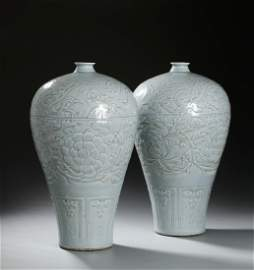 Pair Large Ying-Ching 'Peony' Meiping Vases