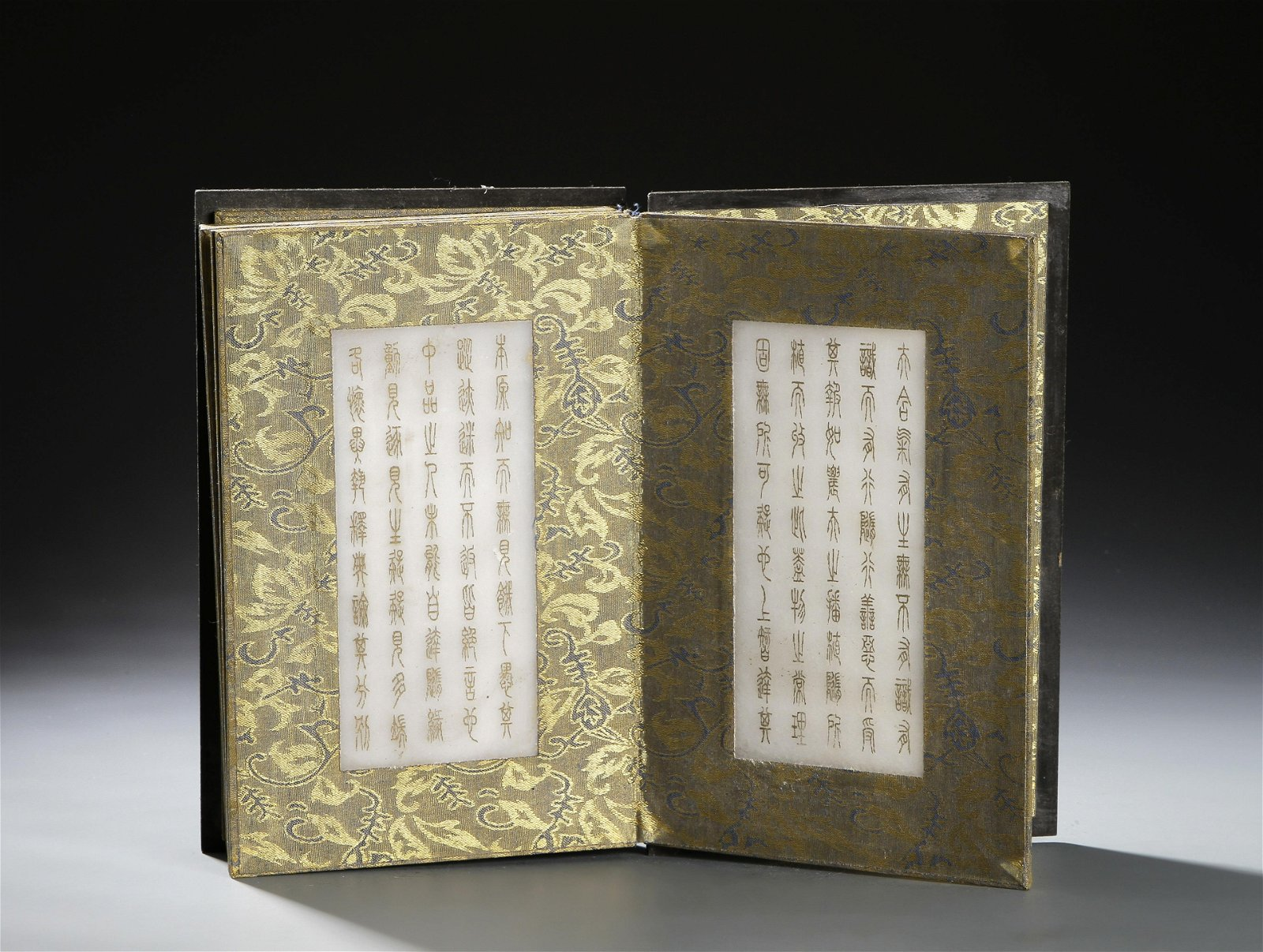 Rare Chinese Gilt-Decorated Jade Book