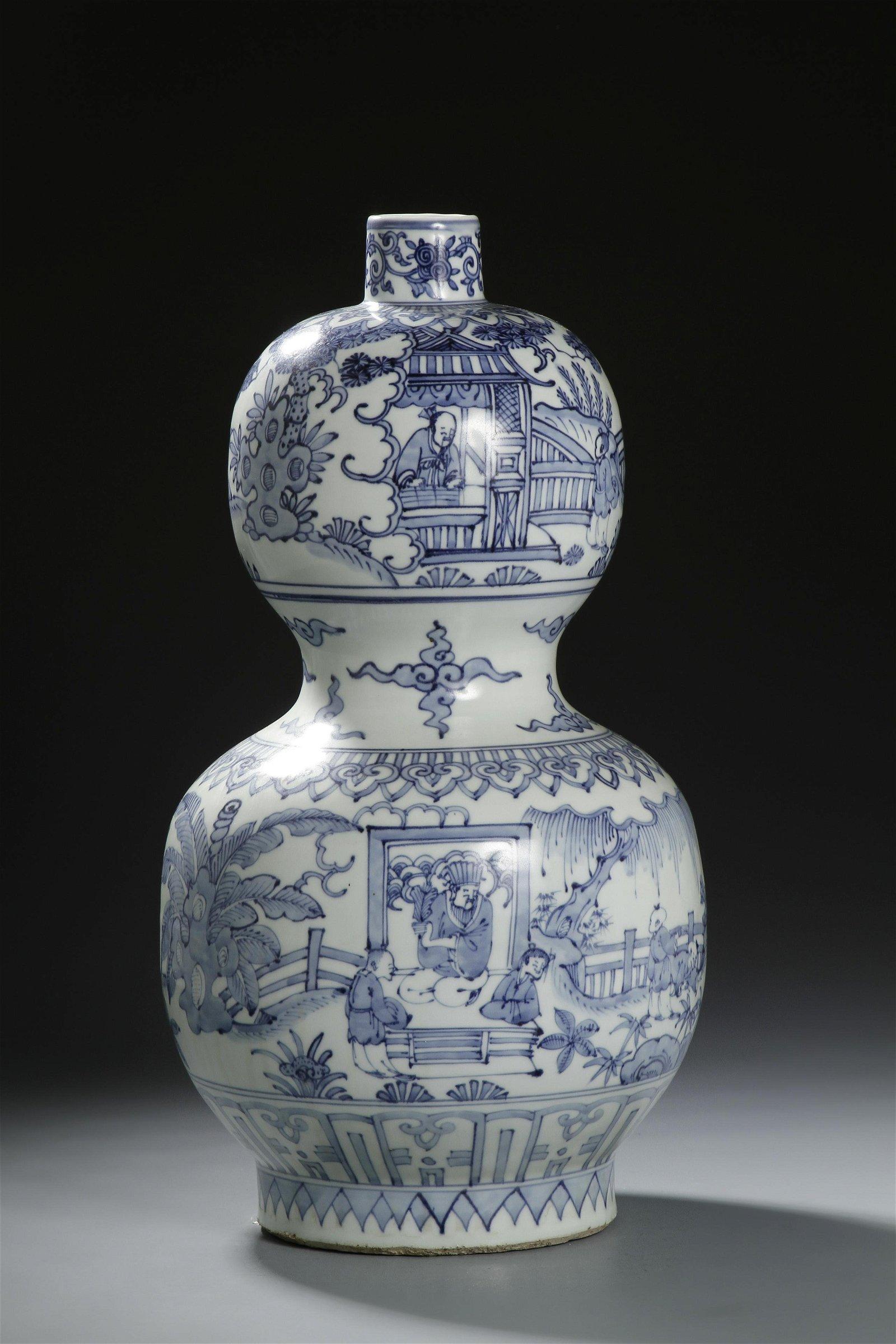 Large Chinese Blue/White Double-Gourd Vase