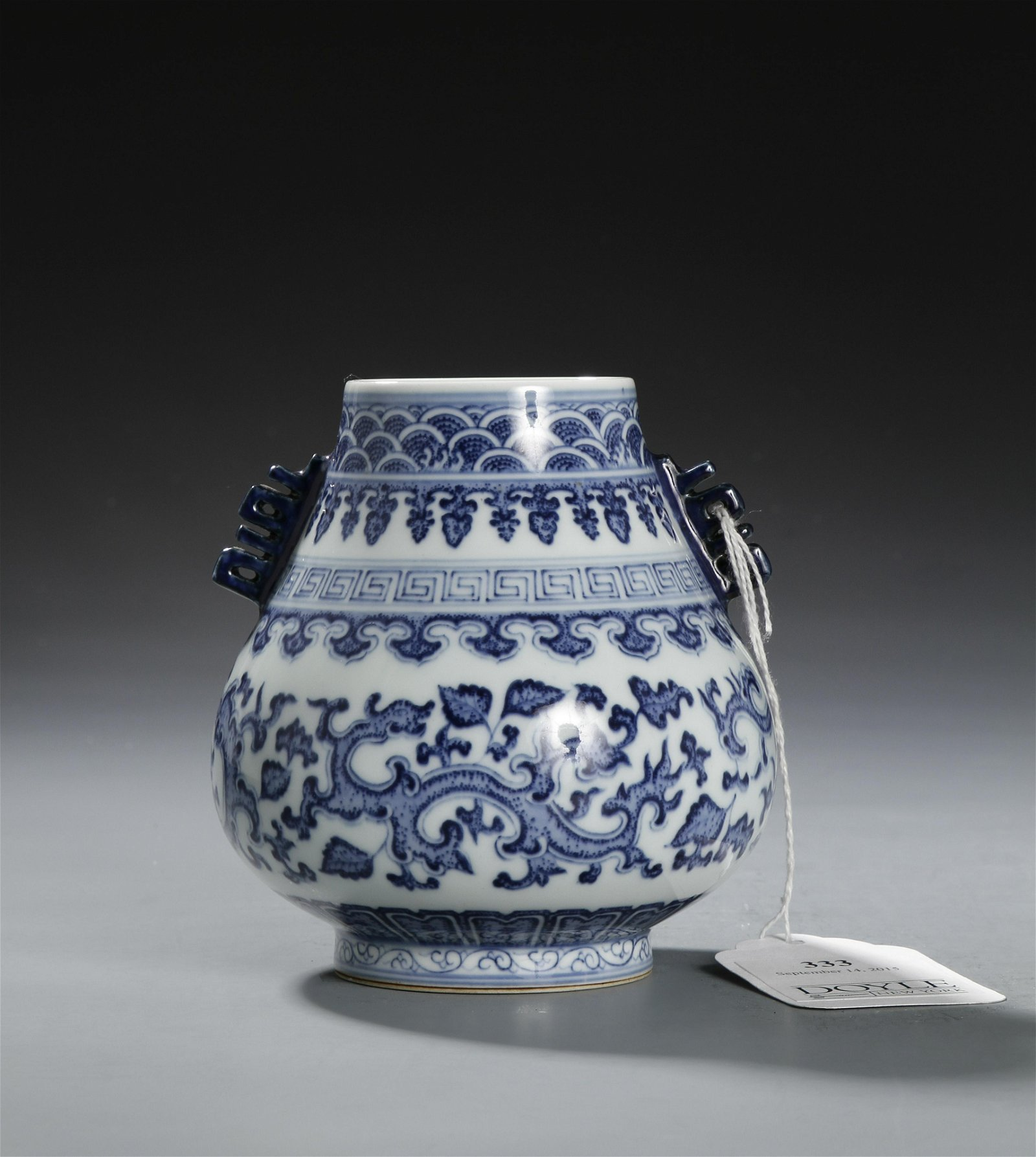 From Doyle, Chinese Blue and White Vase