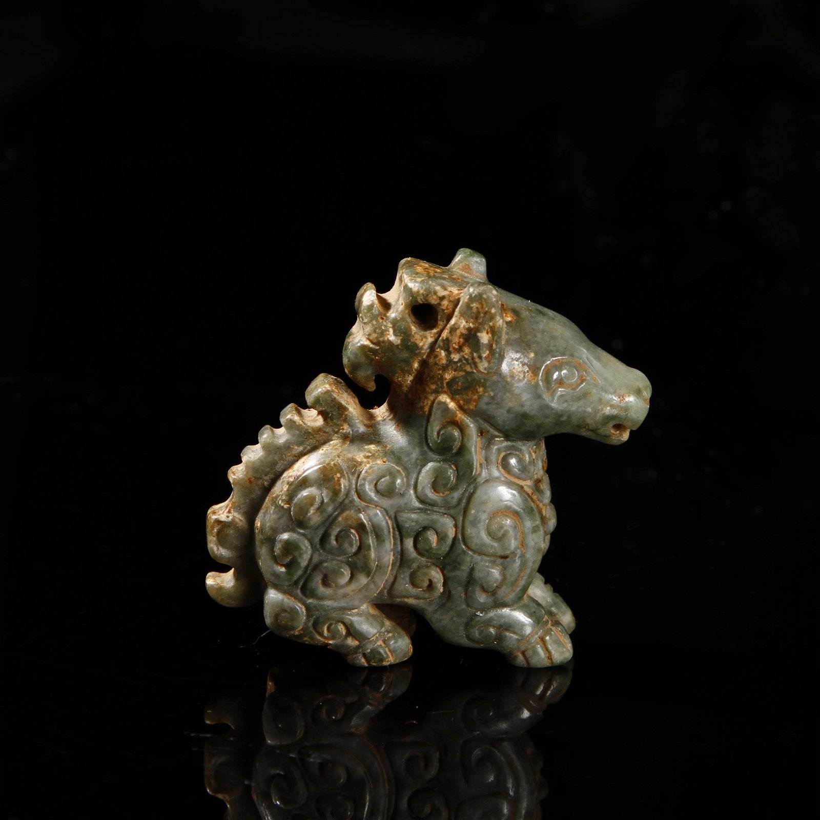 Chinese Celadon Jade Figure of a Horse