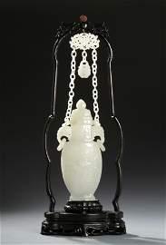 Chinese Hetian White Jade Vase