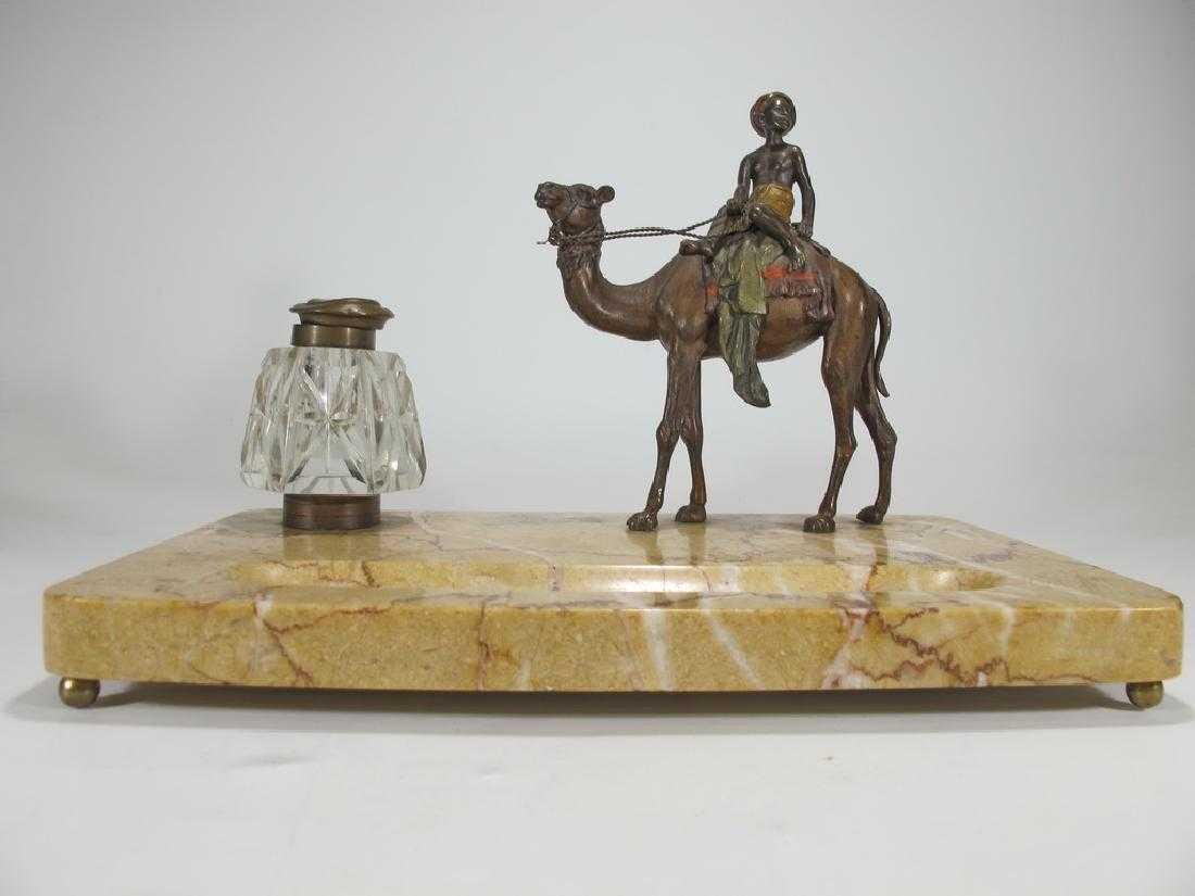 Antique Orientalist Vienna bronze & marble - 3