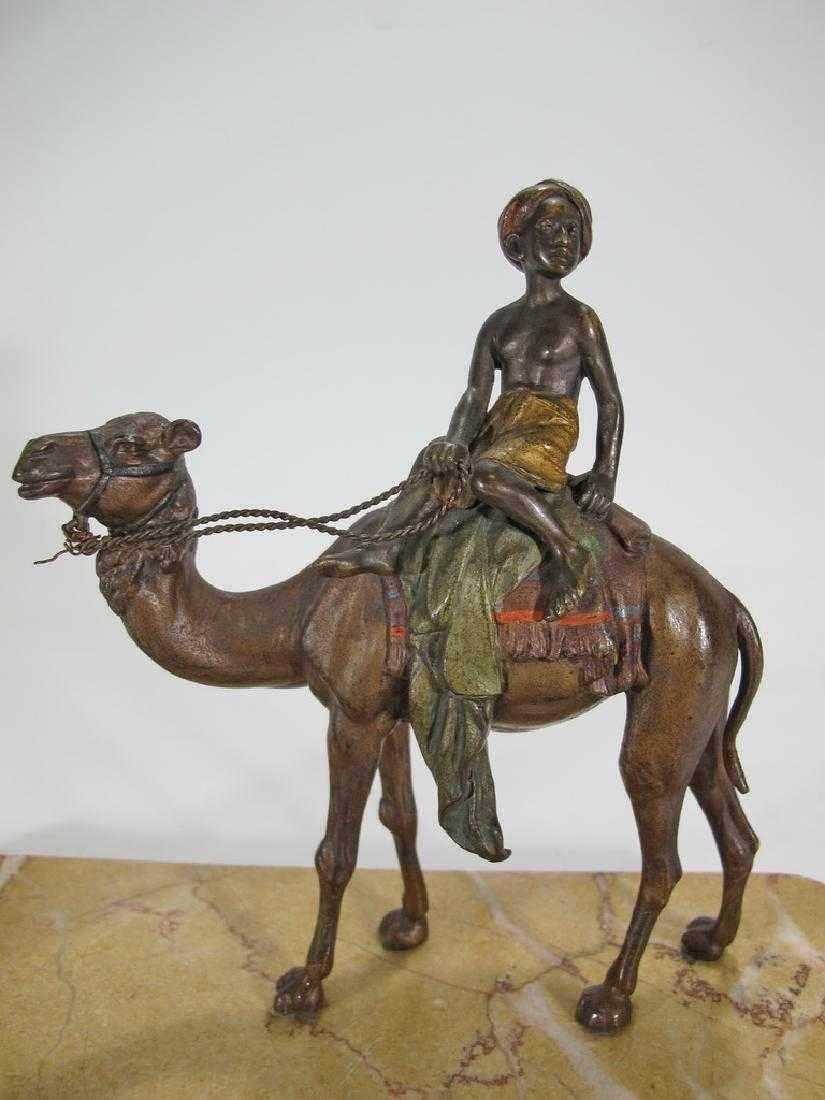 Antique Orientalist Vienna bronze & marble - 4