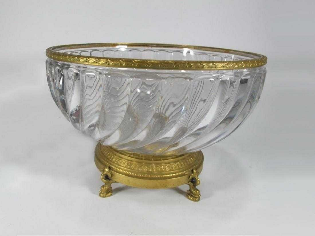 Antique French Baccarat bronze & glass bowl