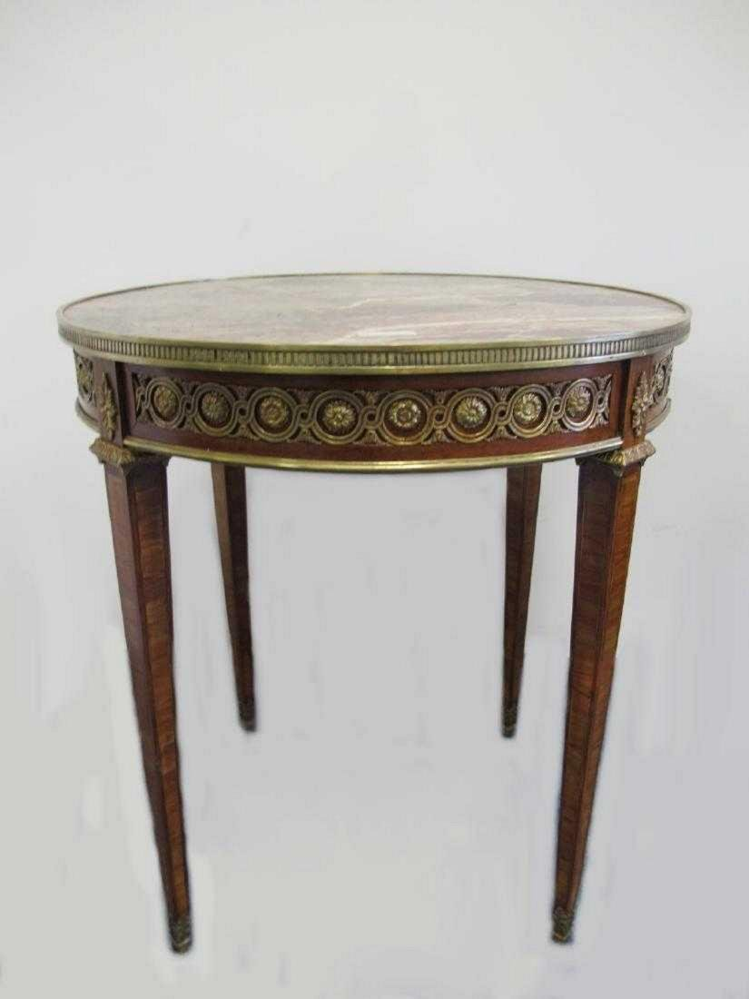 Antique French bronze, wood & marble top table