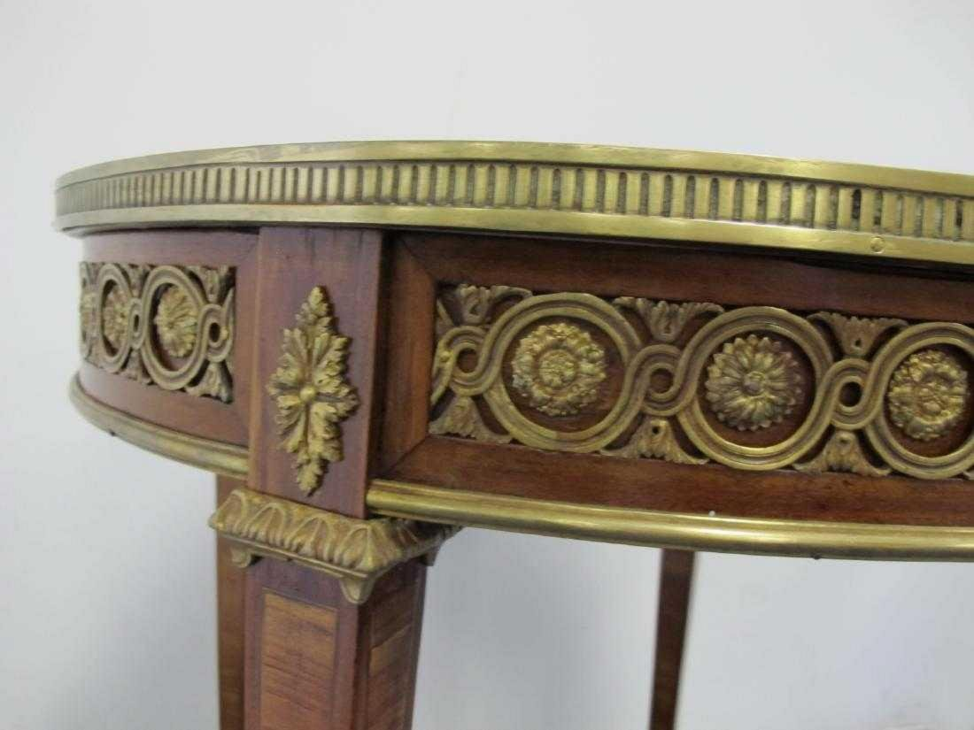 Antique French bronze, wood & marble top table - 3