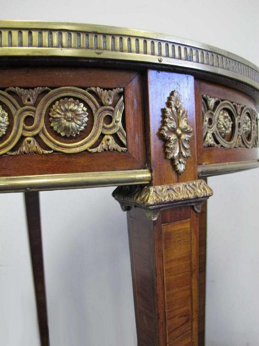 Antique French bronze, wood & marble top table - 4