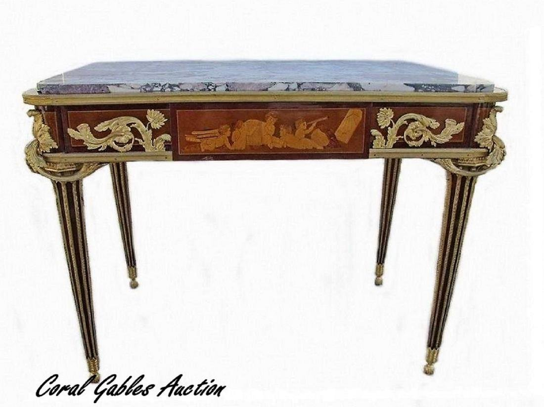 19th C French ormolu inlaid center table