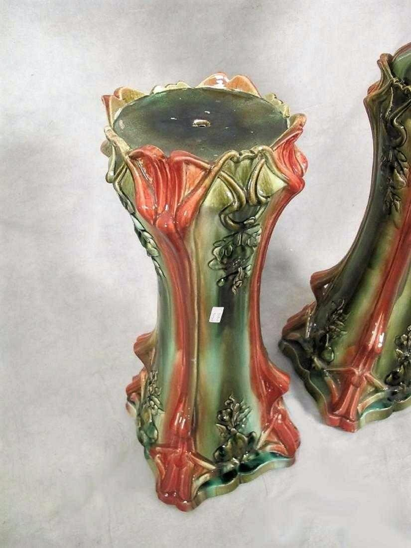 Pair of Continental majolica jardinieres with stand - 3