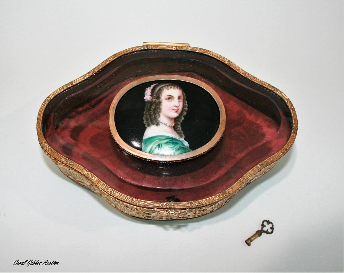 Antique French bronze, glass & porcelain box