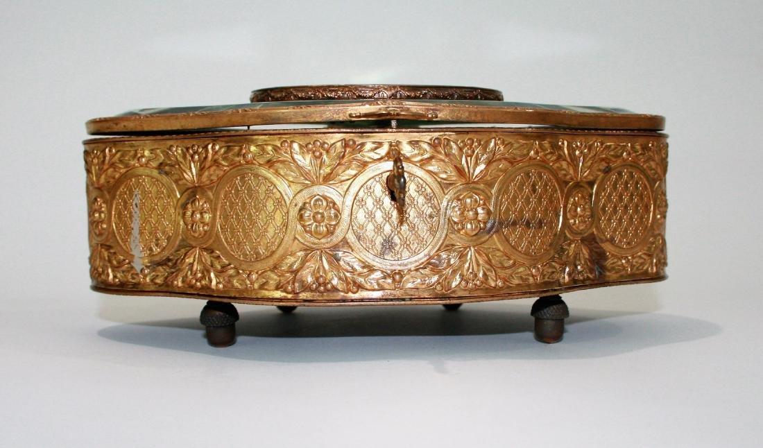 Antique French bronze, glass & porcelain box - 2