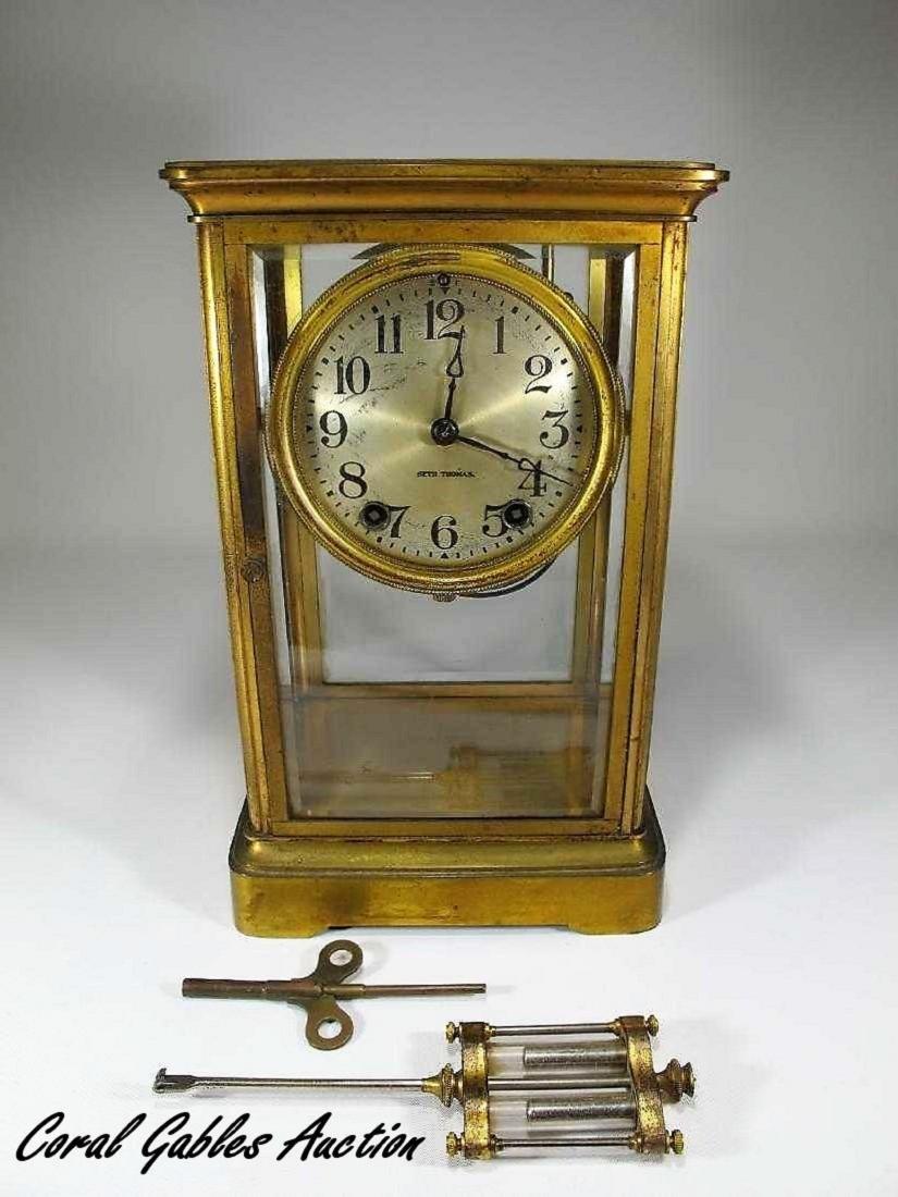 Antique  Thomas crystal regulator mantel clock