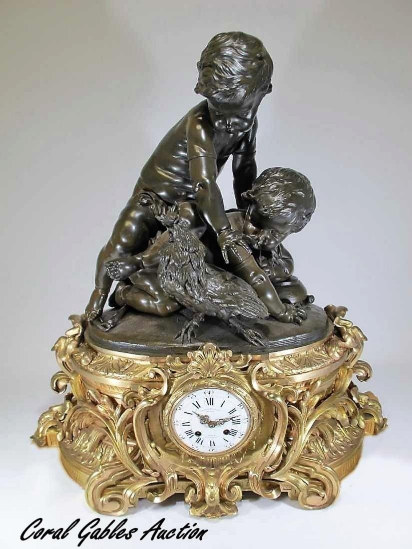 Amazing 19th C huge French gilt bronze clock