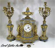 19th C French gilt bronze & marble clock set