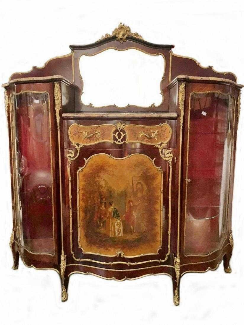 Antique French Louis XV style inlaid cabinet
