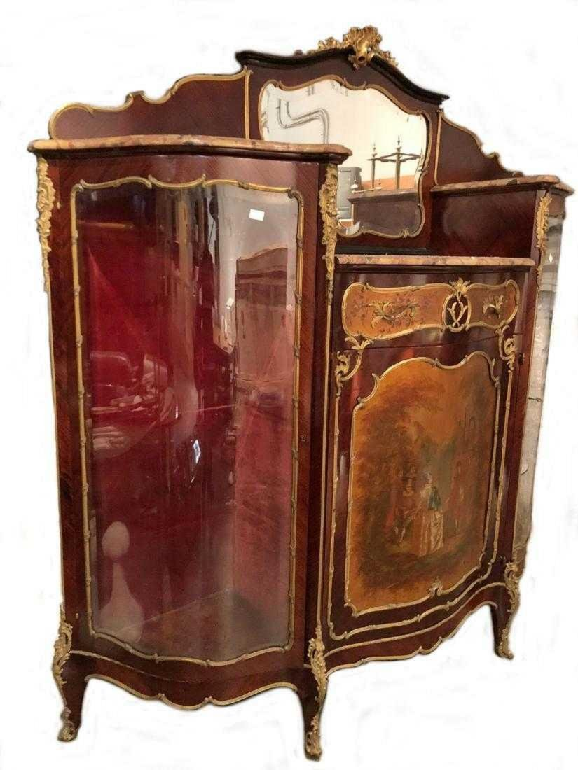 Antique French Louis XV style inlaid cabinet - 9