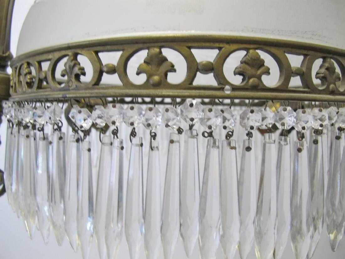 Antique French bronze & glass chandelier - 6