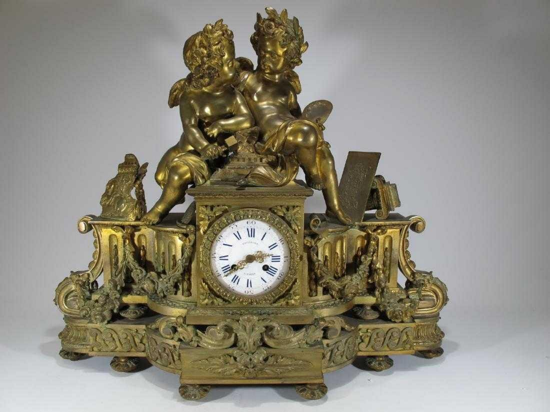 19th C French Japy Freres bronze mantle clock