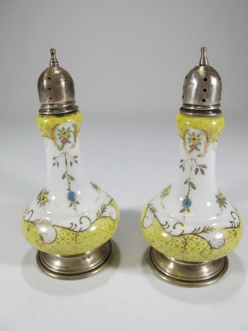 Antique Sterling & porcelain salt & pepper containers