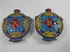 2 Chinese Export silver & enamel miniature bottles