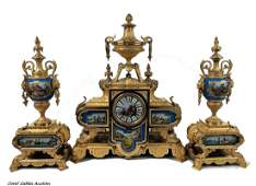 A Sevres Style Porcelain Mounted Gilt Bronze