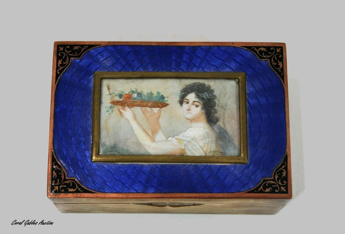 19C French Engraved Brass Jewel Box w/ Guilloche Enamel