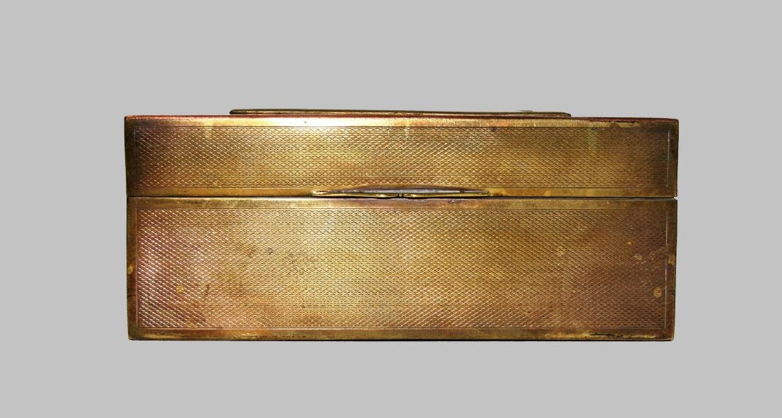 19C French Engraved Brass Jewel Box w/ Guilloche Enamel - 2