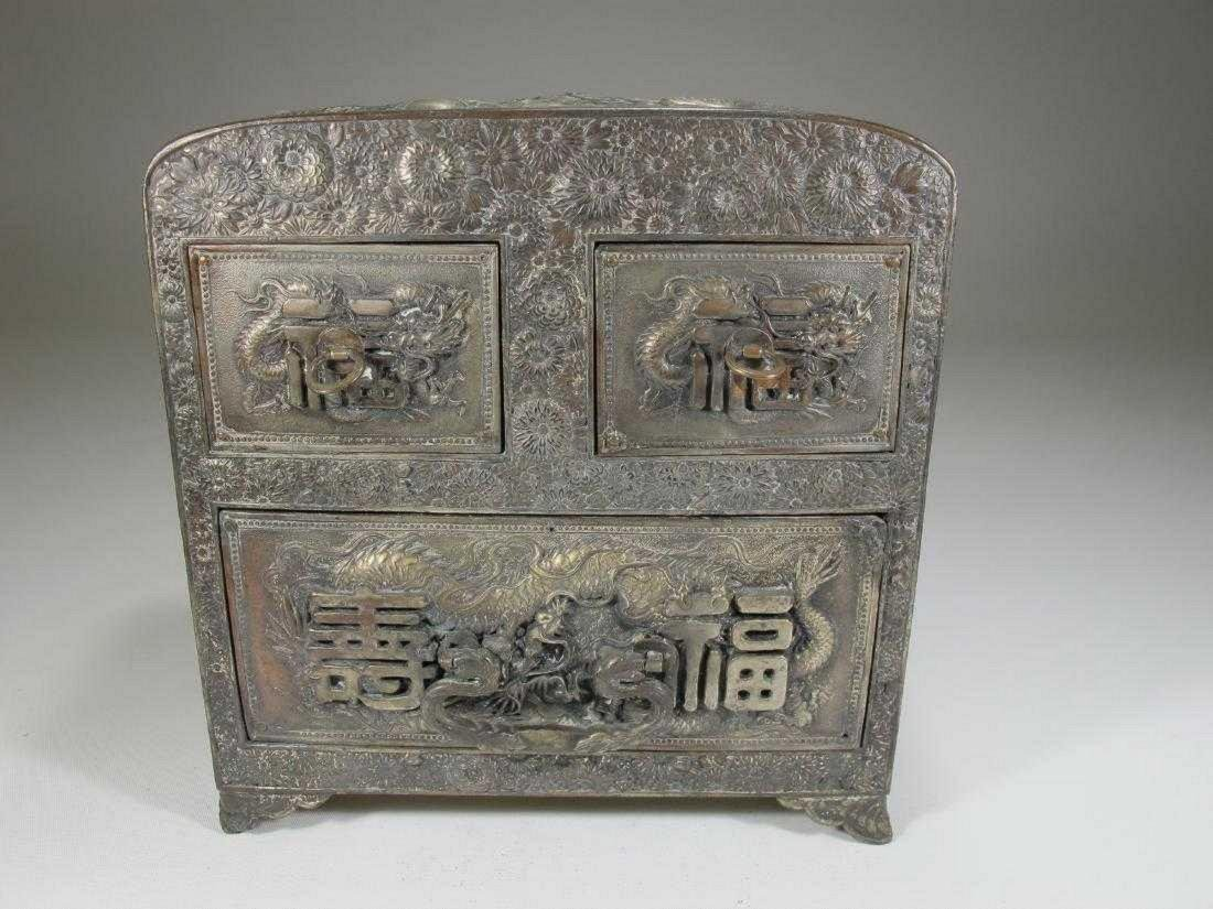 Antique Chinese Export silver jewelry box