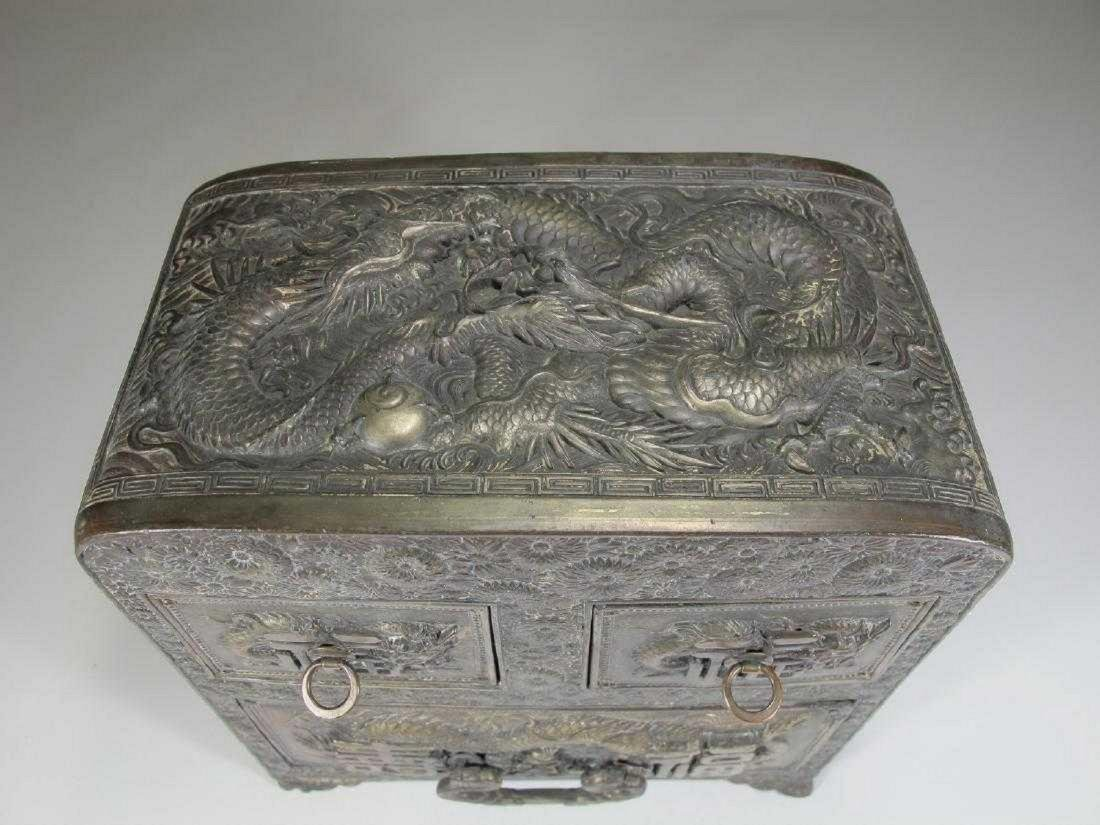 Antique Chinese Export silver jewelry box - 2