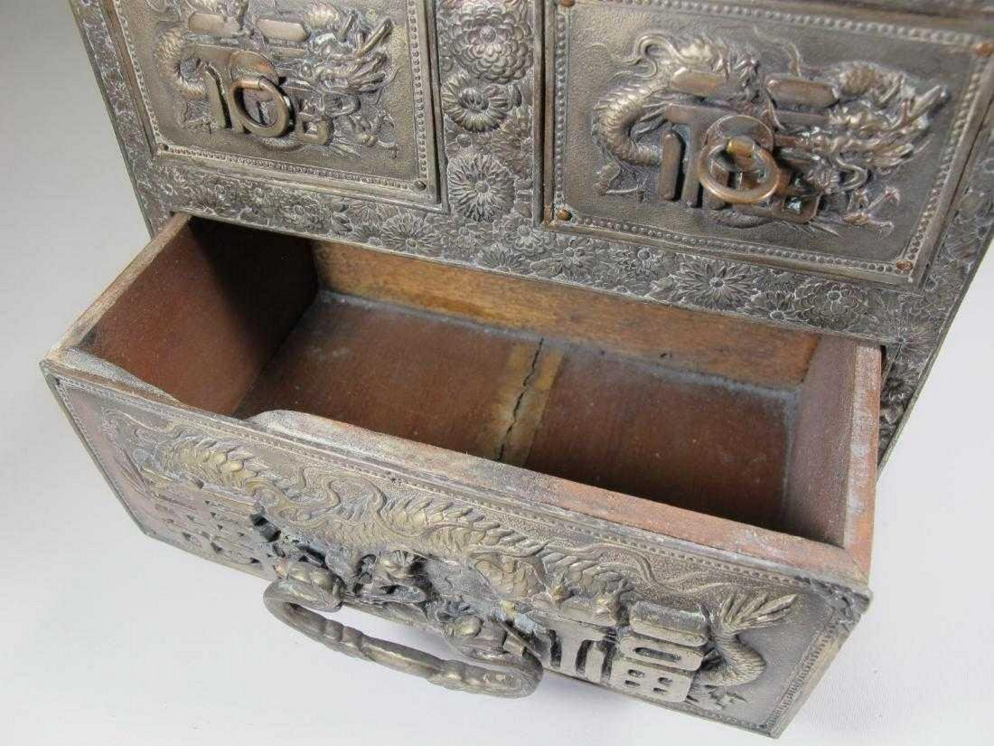 Antique Chinese Export silver jewelry box - 4