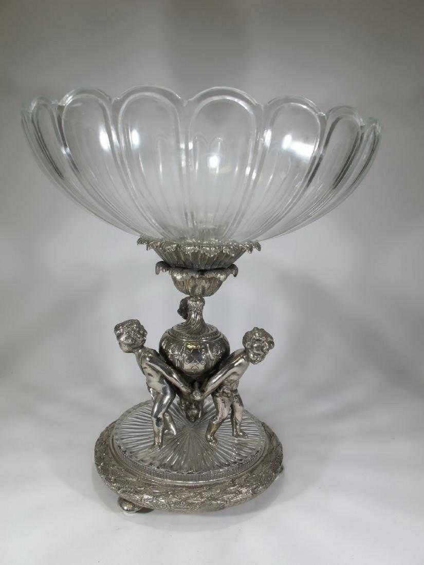 Huge Baccarat style silver-plate glass centerpiece