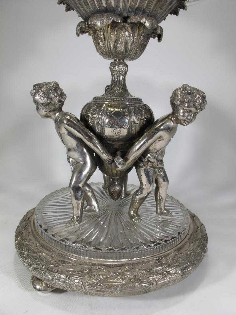 Huge Baccarat style silver-plate glass centerpiece - 2
