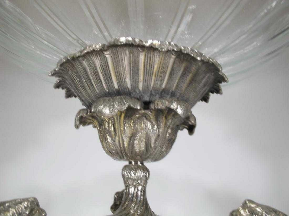 Huge Baccarat style silver-plate glass centerpiece - 3